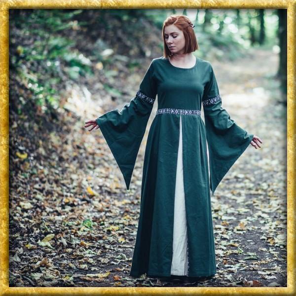 Mittelalter Kleid mit Bordüre Ava - Grün