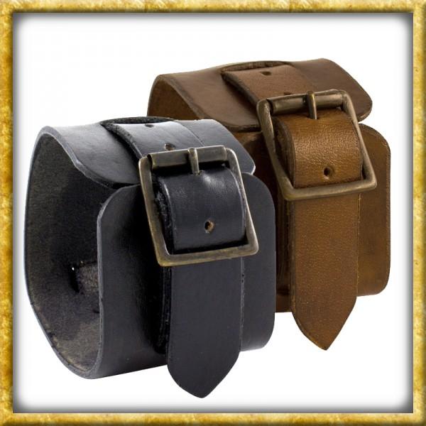 Manschettenarmband aus Leder - Schwarz oder Braun