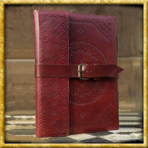 Notizbuch mit Ledereinband - Rot/Braun