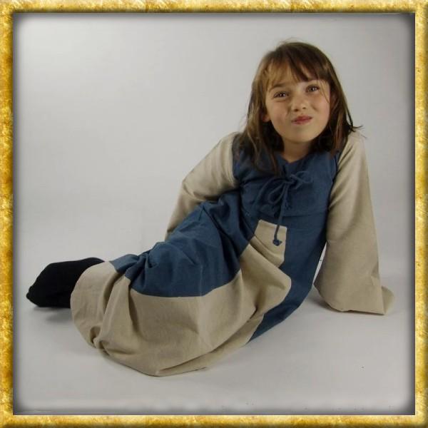 Zweifarbiges Kleid für Mädchen - Blau/Natur