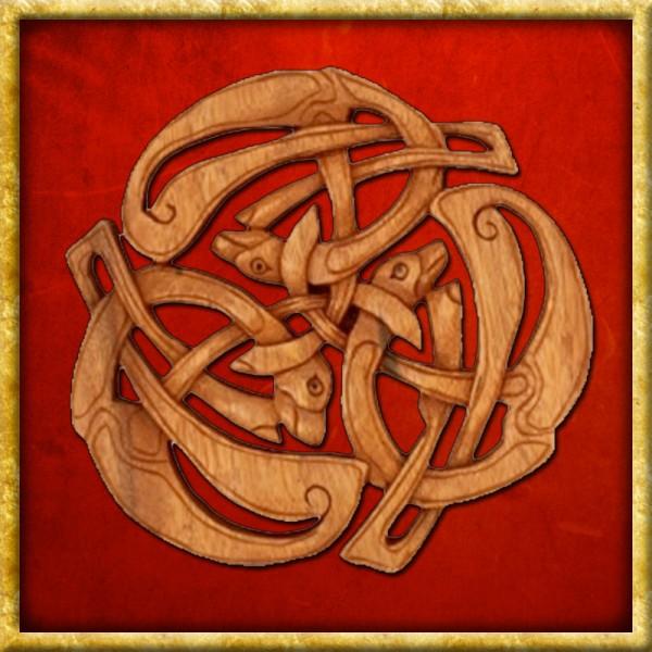 Drei Keltische Hunde - Handgeschnitzt