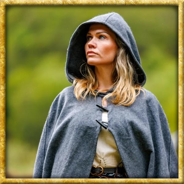 Schwerer Damenumhang mit langen Knöpfen - Grau