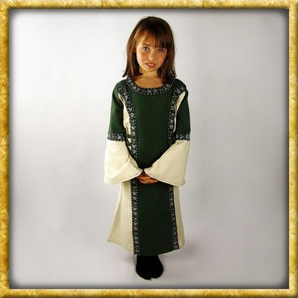 Prinzessinnenkleid mit Bordüre - Grün/Natur