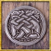 Runde Gürtelschnalle Keltische Hunde - Silber