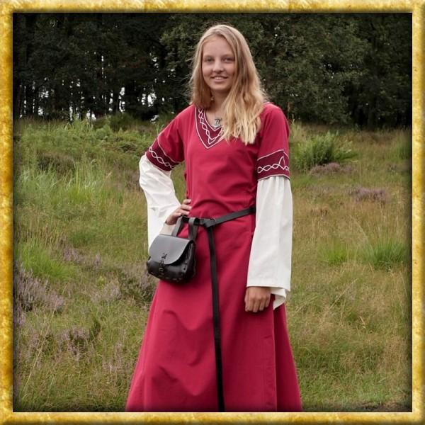 Mittelalter Kleid Alvina - Rot/Natur