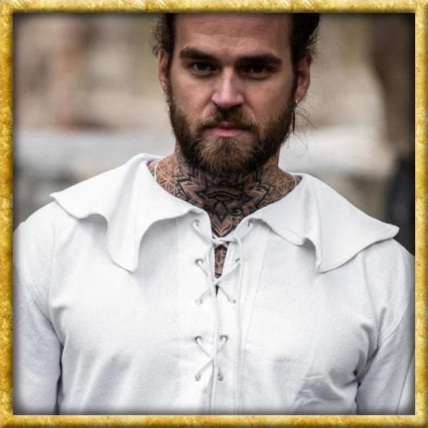 Mittelalter Rundkragenhemd - Weiss oder Schwarz