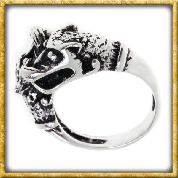 Wikingerring aus Silber - Odins Wölfe