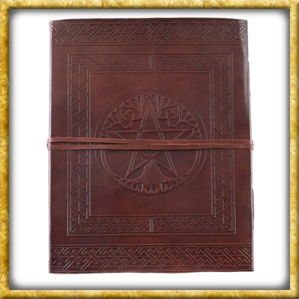 Grosses Lederbuch mit Pentagramm