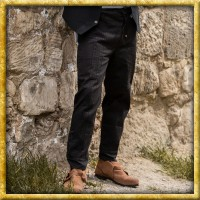 Mittelalter Hose mit Ziernaht - Schwarz