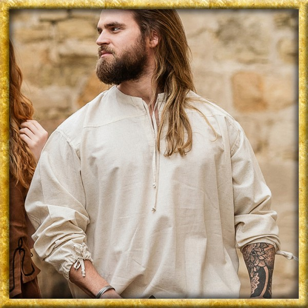 Einfaches Mittelalterhemd mit Bändeln - Natur