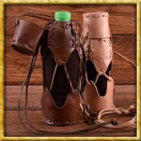 Geschnürter Flaschenhalter aus Leder - Braun oder Natur