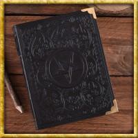 Schwarzes Lederbuch mit Pentagramm