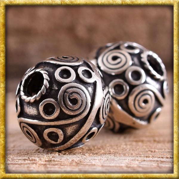 Bartperle mit keltischen Spiralen - Silber