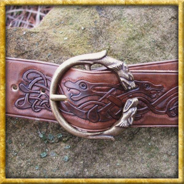 Keltischer Ledergürtel mit Wolfsprägung - Braun