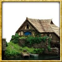 Hobbit - Diorama Hobbingen Mühle und Brücke