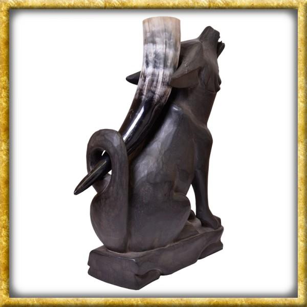 Trinkhornständer Wolf aus Holz - Schwarz oder Braun