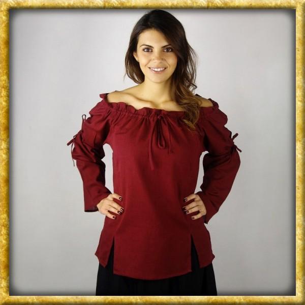Mittelalter Bluse mit Schnürung - Rot