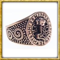 Wikingerring aus Bronze mit Runen - Thorshammer