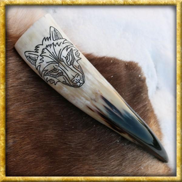 Trinkhorn mit Wolfskopf - ca. 300ml