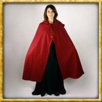 Schwerer Damenumhang mit Metallknöpfen - Rot