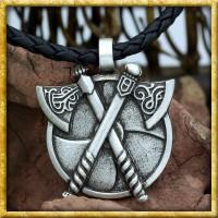 Wikinger Anhänger Axt & Schild mit Lederband