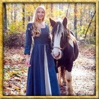 Mittelalterkleid mit abnehmbaren Ärmeln - Blau/Natur