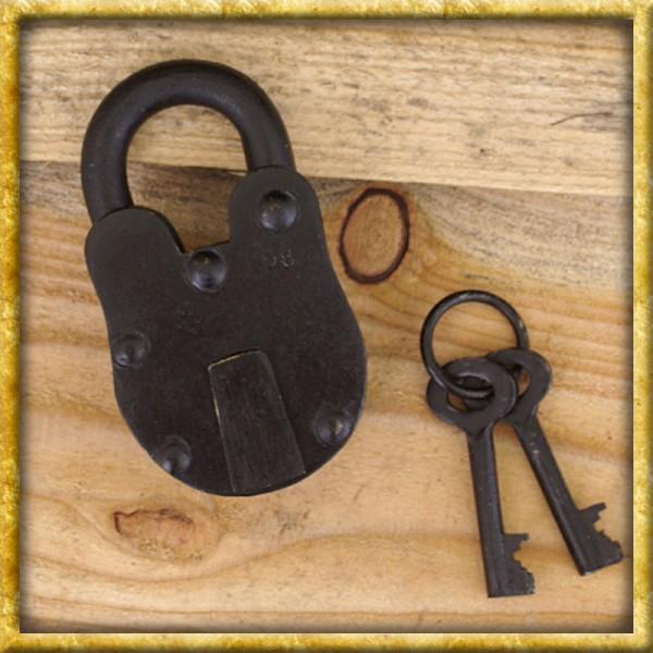 Mittelalterliches Vorhängeschloss mit 2 Schlüsseln