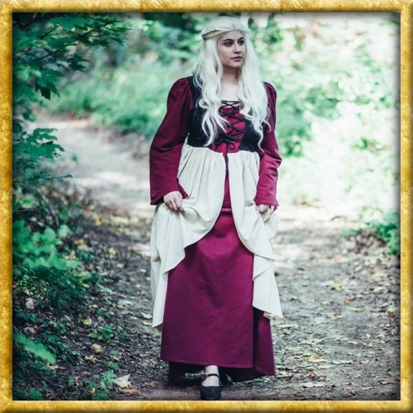 Mittelalterkleid Elodie - Rot/Natur