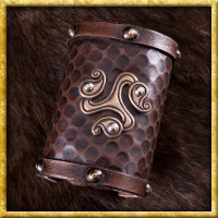 Leder Armschützer mit keltischem Triskel-Motiv
