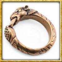 Wikinger Ring mit Hundekopf aus Bronze