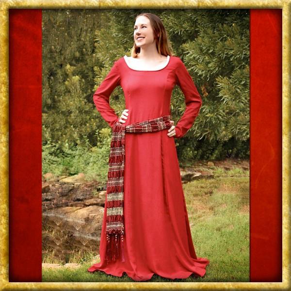 Kleid mit Tuch - Rot