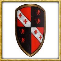LARP Wappenschild mit Löwen - Rot/Schwarz
