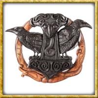 Wandschmuck Thorshammer Hugin & Munin aus Holz - Schwarz
