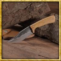 Mittelalterliches Jagdmesser mit Griff aus Olivenholz