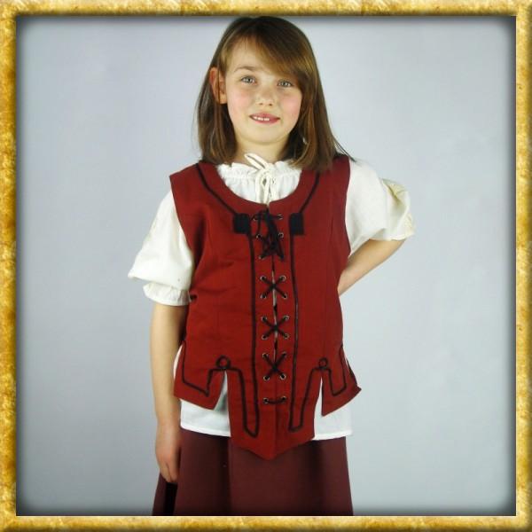 Mittelalter Miederweste für Mädchen - Rot