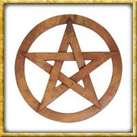 Kleines Pentagram im Kreis aus Holz