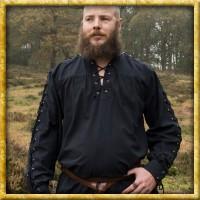 Mittelalter Hemd Corvin mit Schnürung - Schwarz