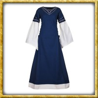 Mittelalter Kleid Alvina - Blau/Natur
