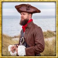 Piratenhut aus Kunstleder - Braun