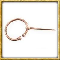 Kleine Wikinger Fibel mit Verzierung aus Bronze