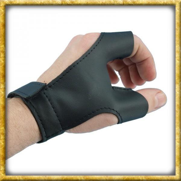Bogenhandschuh aus Leder für Rechtshänder - Schwarz