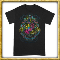 Harry Potter - T-Shirt Hogwarts Wappen Neon