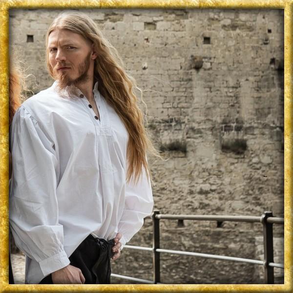 Mittelalterliches Biesenhemd mit Holzknöpfen - Weiss