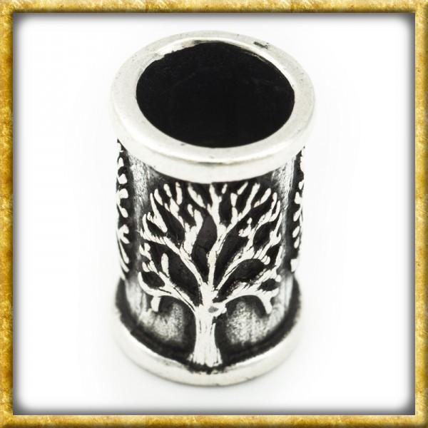 Mittelalter Bartperle mit Lebensbaum Yggdrasil - Silber