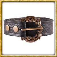 Ledergürtel mit keltischem Muster - Schwarz