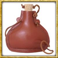 Lederbezogene Feldflasche aus Stahl