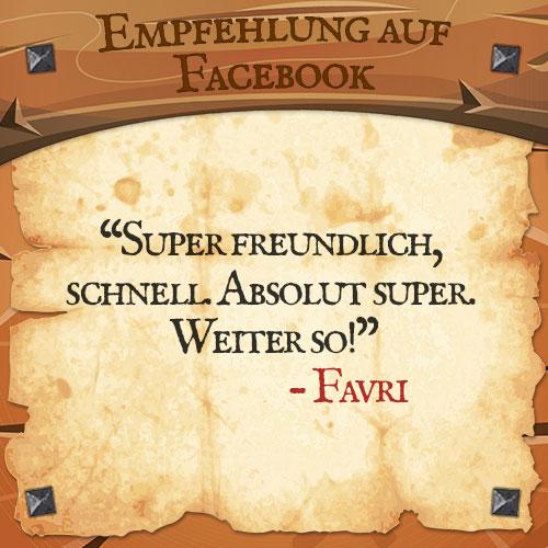 Facebook Bewertung Favri | Drachenhort