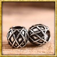 Mittelalter Bartperle mit Rautenmuster - Silber