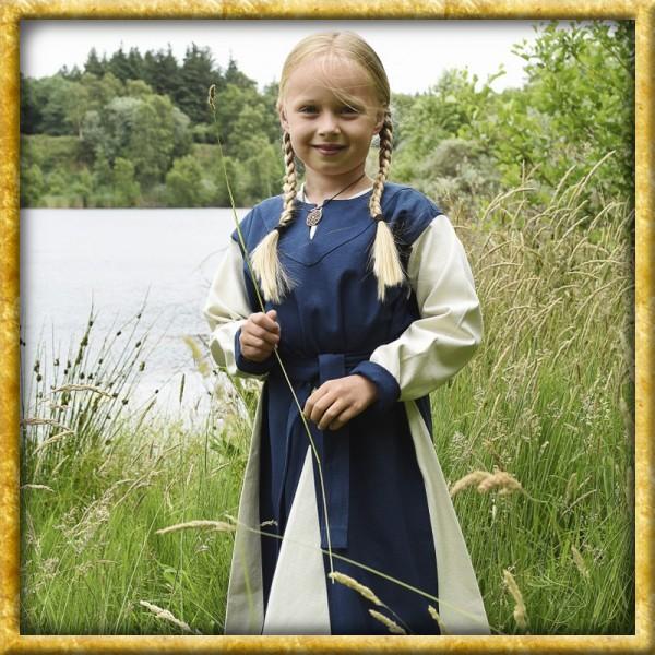 Wikingerkleid für Kinder - Blau/Natur