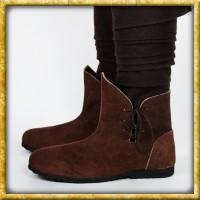 Einfache Stiefel aus Veloursleder - Braun